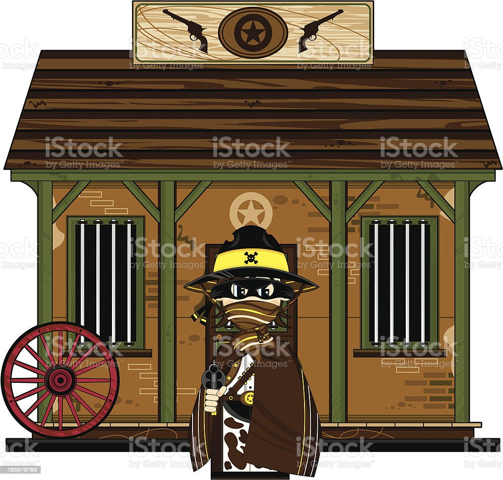Cowboy Sheriff in Poncho at Jailhouse royalty-free stock vector art