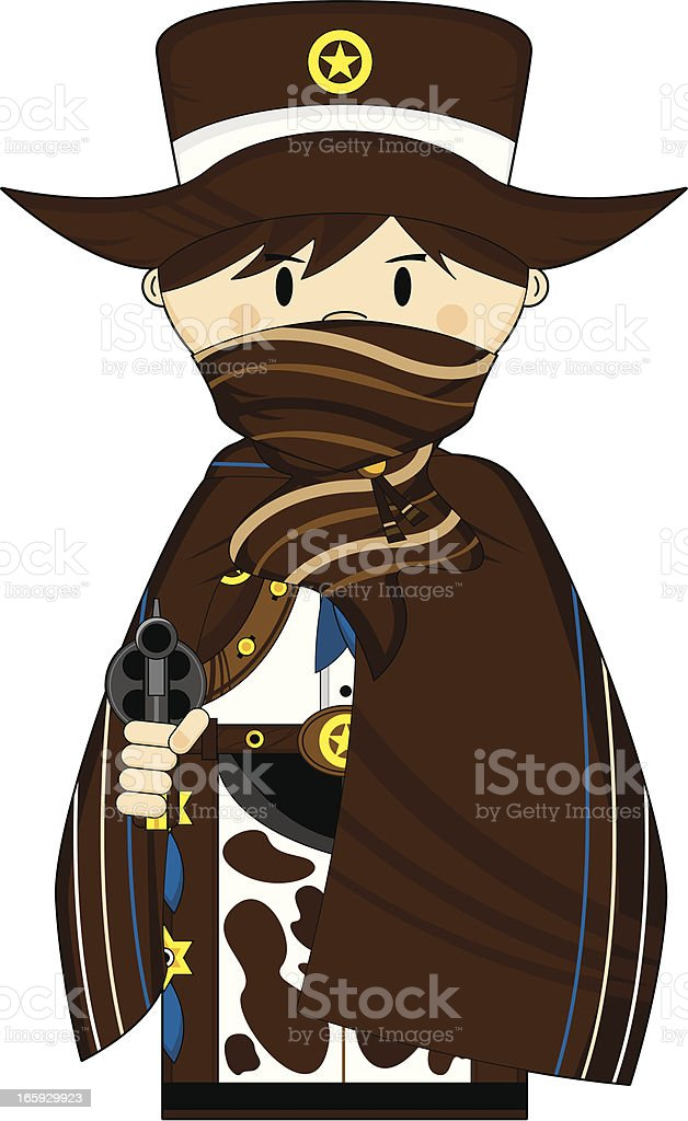 Cowboy Sheriff in Poncho & Mask royalty-free stock vector art