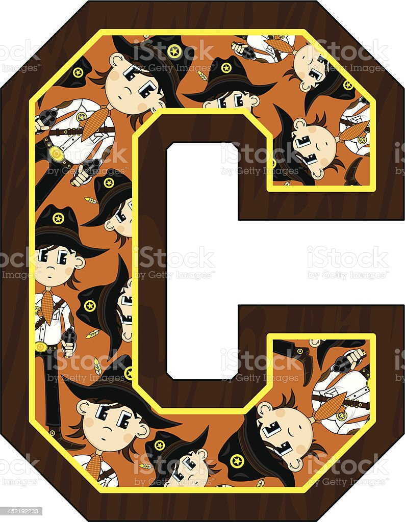 Cowboy Sheriff Learning Letter C royalty-free stock vector art
