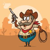 Cowboy sheriff shoots from pistol and smiling