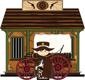 Vector Illustration of a Cowboy Sheriff with Chuck Wagon outside Jailhouse.