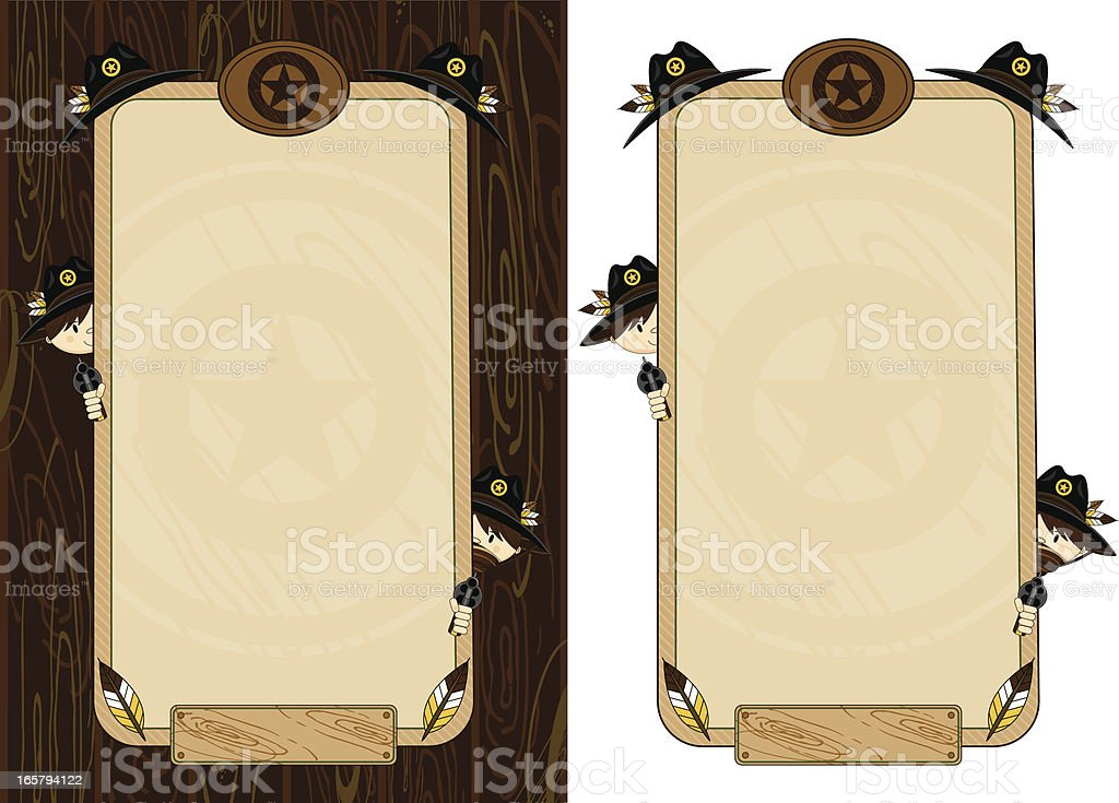 Cowboy Sheriffs Shooting Wild West Frame royalty-free stock vector art