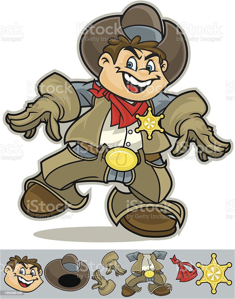 Cowboy Sherriff vector art illustration