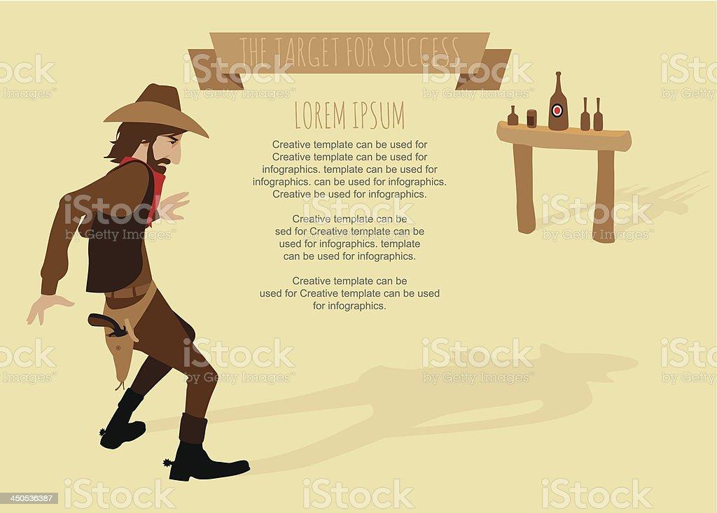 Infographics, cowboy shoot the gun target for success, conceptual...