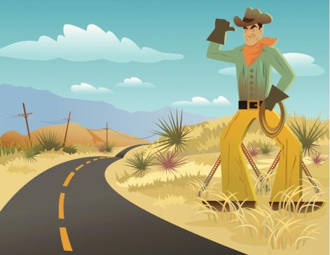 Cowboy sign in desert