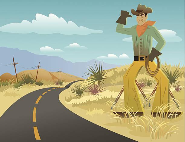 stockillustraties, clipart, cartoons en iconen met cowboy sign in desert - arizona highway signs