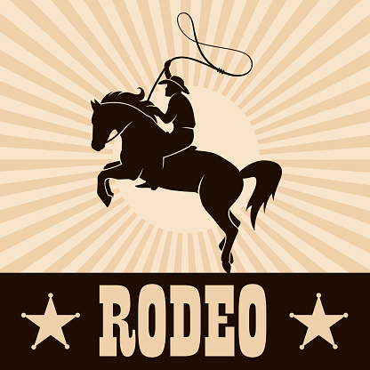 western cowboy silhouette with lasso on horse for rodeo design