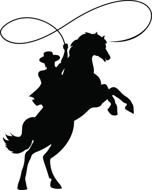 cowboy silhouette with lasso on horse - rodeo stock illustrations, clip art, cartoons, & icons