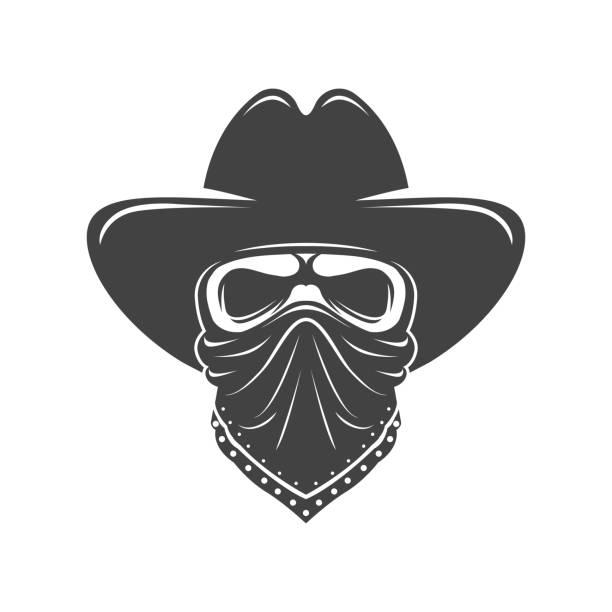 Cowboy skull. Bandit with hat and bandanna Cowboy skull. Bandit with hat and bandanna bandit stock illustrations