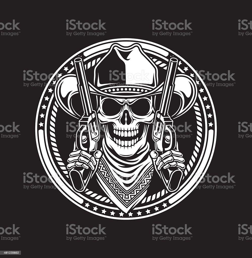 Cowboy Skull Hold Guns vector art illustration