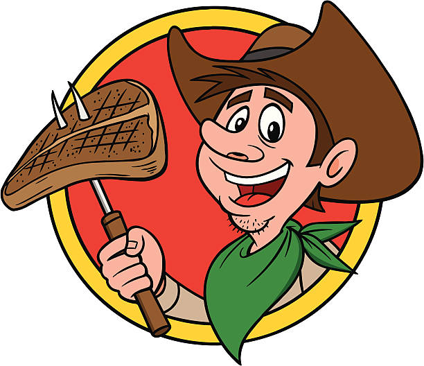 ilustrações de stock, clip art, desenhos animados e ícones de cowboy de carne de vaca - burned cooking