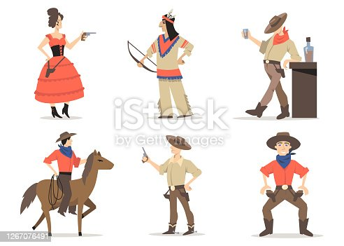 Cowboy stories characters set. Traditional wild west residents, red Indians, rodeo guy with lasso riding horse, sheriff drinking whiskey in saloon. For American culture, tradition, history concept