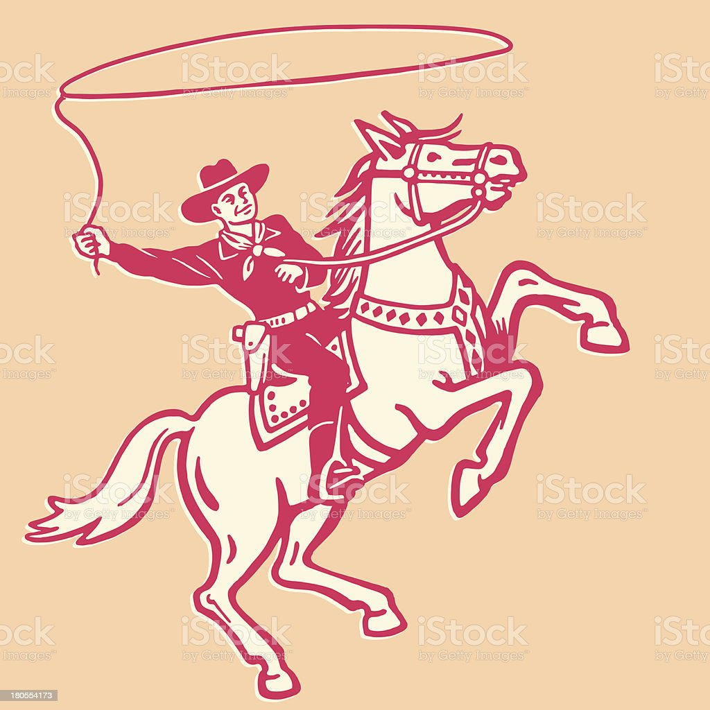 Cowboy Throwing Lasso on a Horse vector art illustration