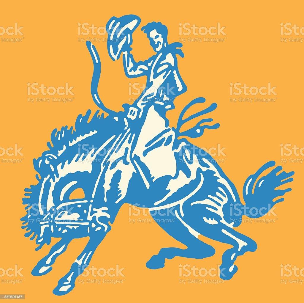 Cowboy Tipping Hat on Bucking Bronco vector art illustration