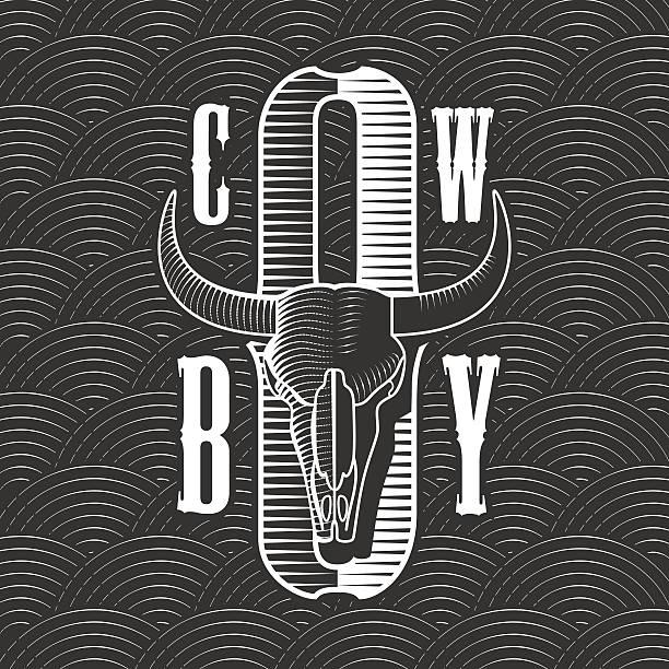 cowboy vector concept template - animal skull stock illustrations
