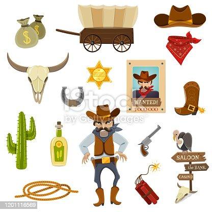 Cowboy icons set with dynamite skull and horseshoe cartoon isolated vector illustration
