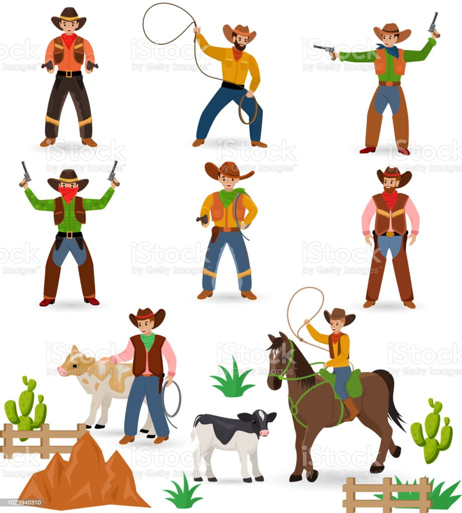 Cowboy vector western cow boy or wild west sheriff signs hat or horseshoe  in wildlife desert with cactus illustration wildly horse character for  rodeo set ... ed8c4596ace6