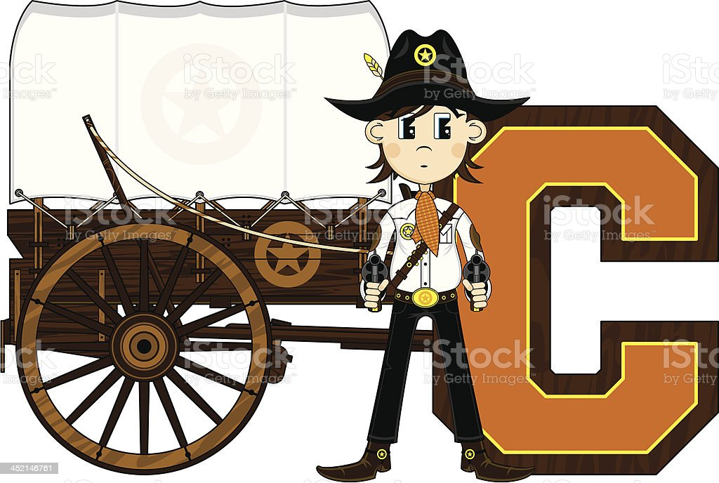 Cowboy & Wagon Learning Letter C royalty-free cowboy wagon learning letter c stock vector art & more images of aiming