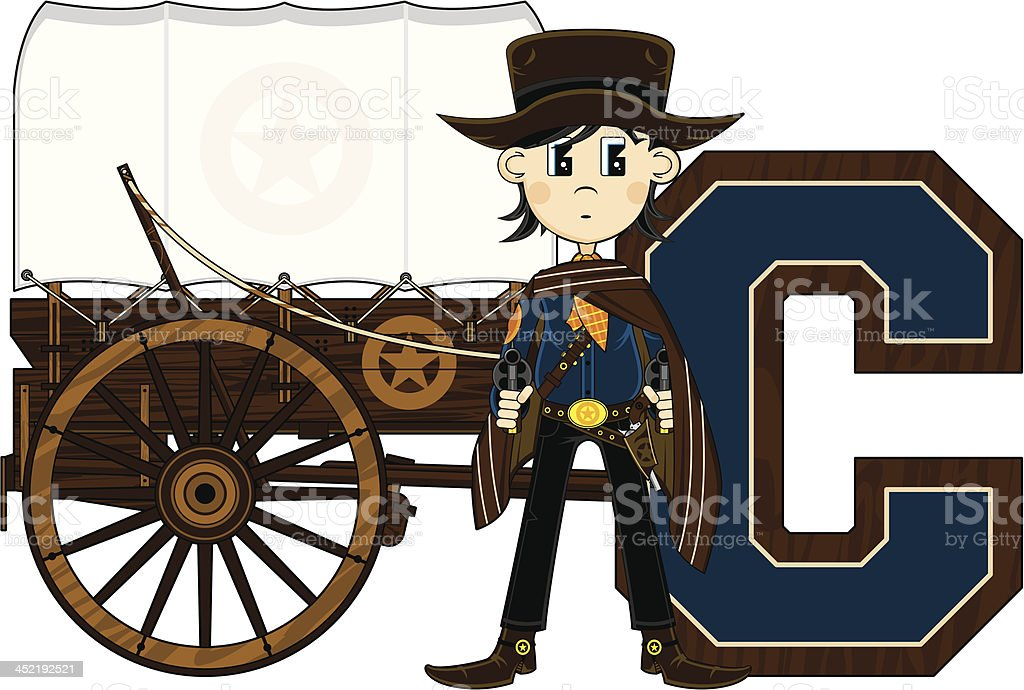 Cowboy & Wagon Learning Letter C royalty-free stock vector art