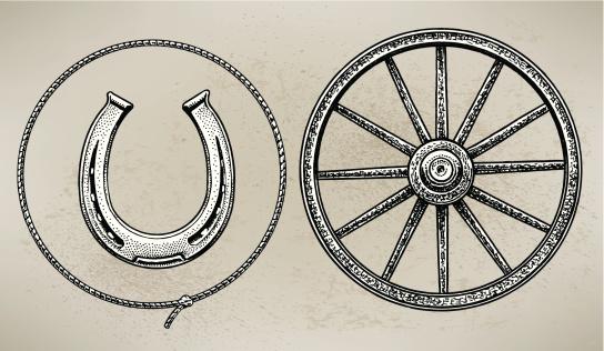 Cowboy Wagon Wheel, Horseshoe and Lasso