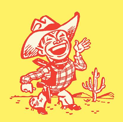 Cowboy Waving from Desert