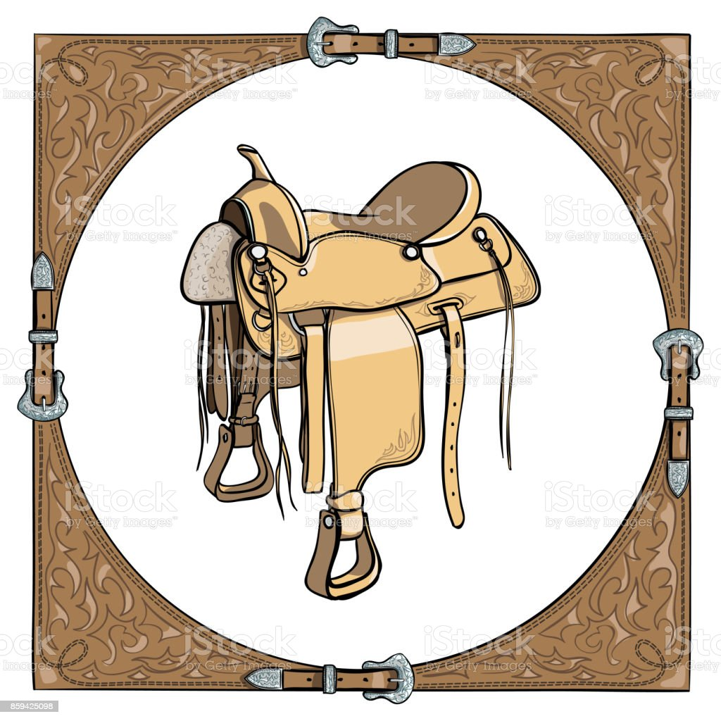 Cowboy Western Saddle In The Leather Frame Background Stock Illustration Download Image Now Istock