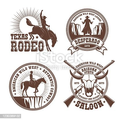Cowboy wild west rodeo vintage badge. Cowboy horse rider silhouette vintage emblem. Vector illustration.