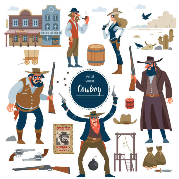 Cowboy, wild west set. Flat isolated vector illustration Cowboy, Robbers characters set and wild west scene with dynamite skull gun gallows, cart, money, hat, Bank, bar, crows, rocks, cactus, barrel, poster wanted Flat isolated vector illustration bandit stock illustrations