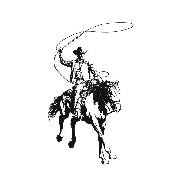 Cowboy With a Lasso Riding a Horse Cowboy With a Lasso Riding a Horse rancher illustrations stock illustrations