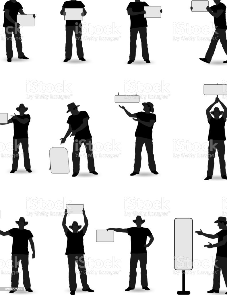 Cowboy with Board royalty-free stock vector art