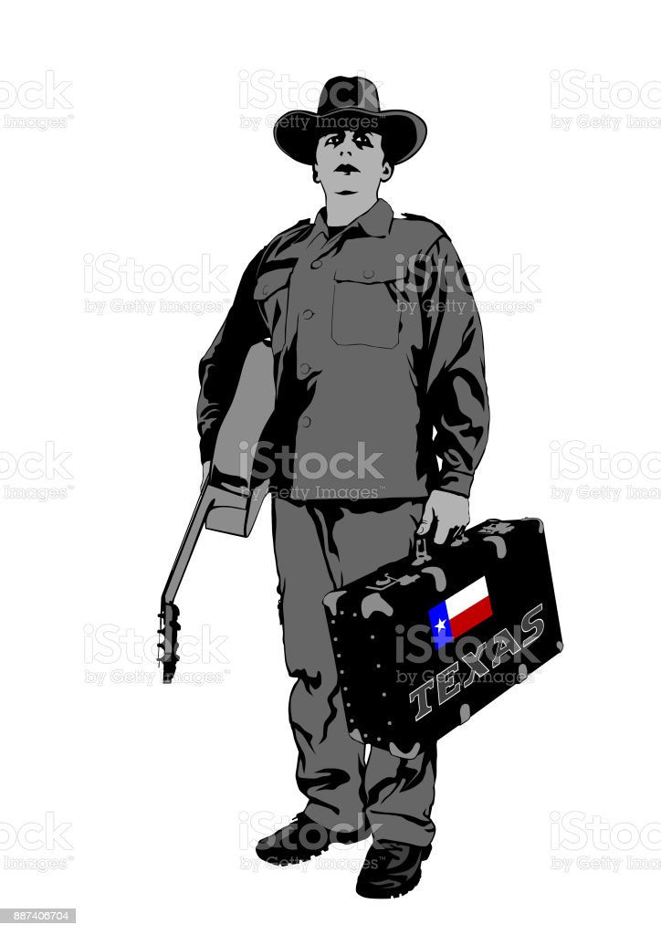 Cowboy with guitar vector art illustration