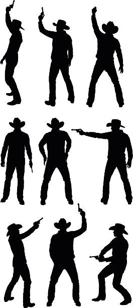 Royalty Free Western Man Shooting Gun Clip Art, Vector