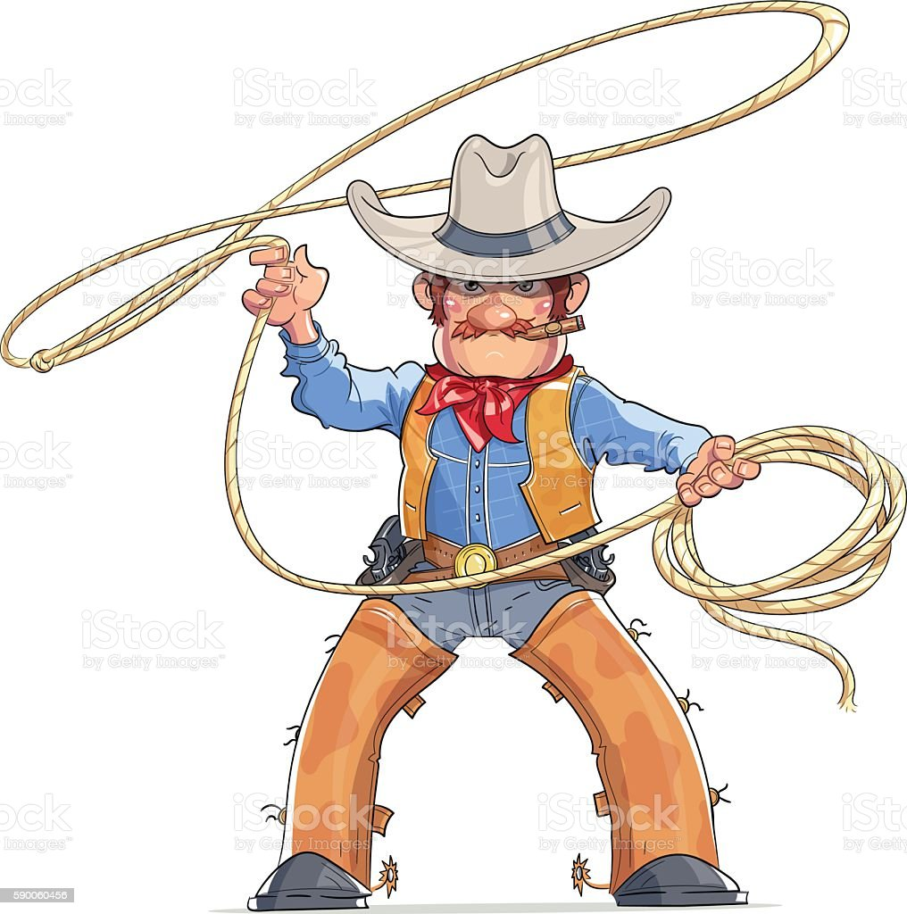 Cowboy with lasso. American Western character vector art illustration