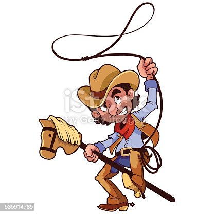 istock Cowboy with lasso on a stick-horse 535914765