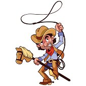 Cowboy with lasso on a stick-horse