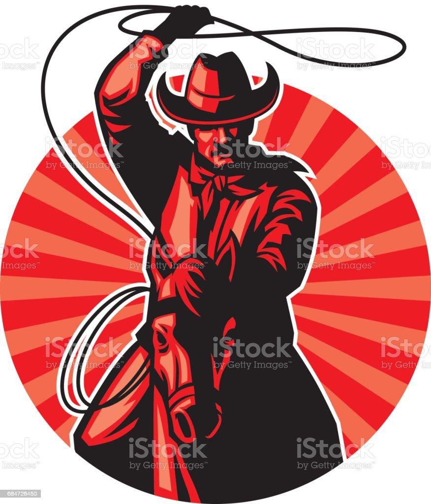cowboy with lasso vector art illustration