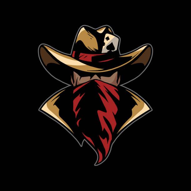 cowboy with red bandana cowboy with red bandana in vector bandit stock illustrations