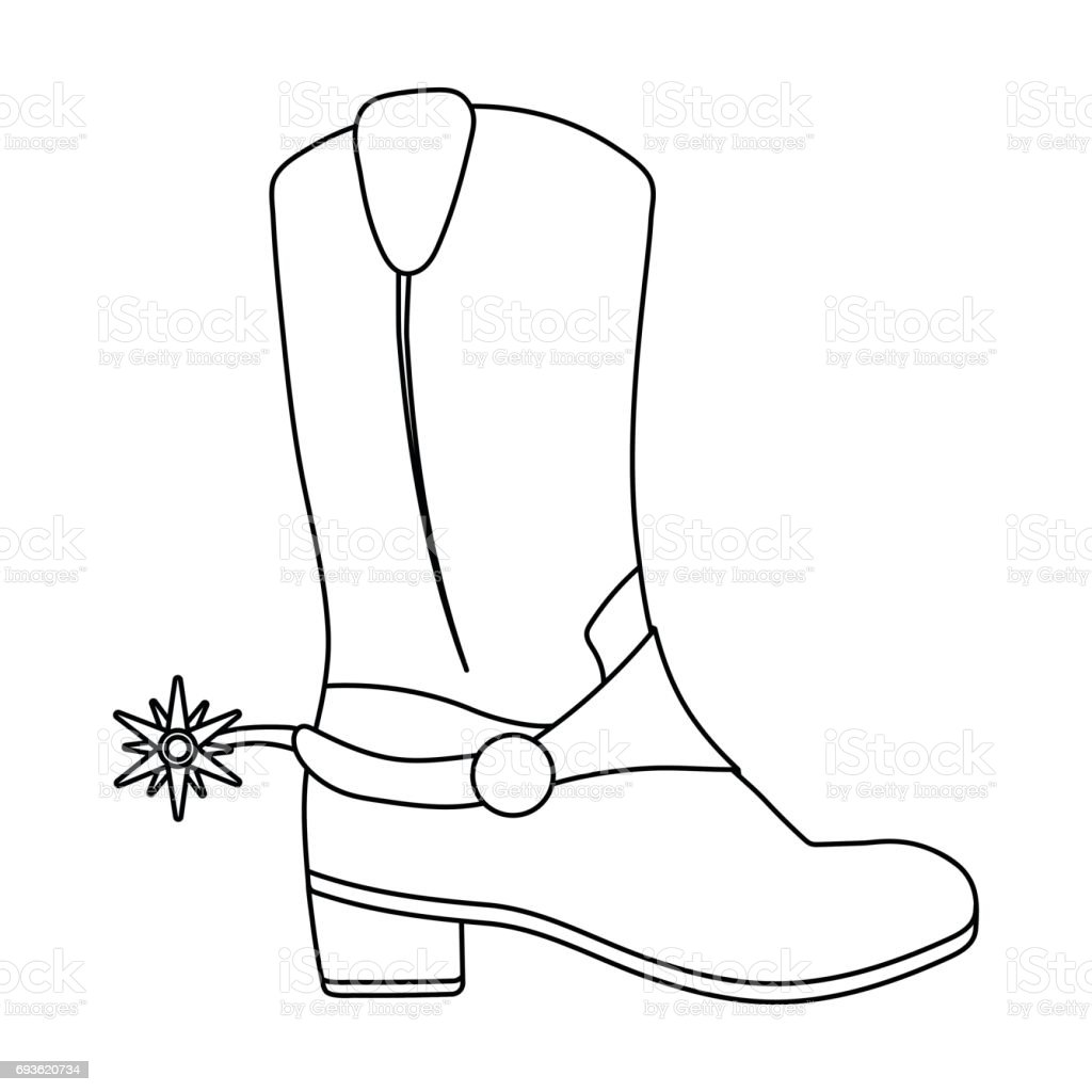 Spur Art Design Your Line : Cowboys boots icon in outline style isolated on white