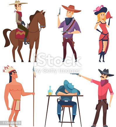 Cowboys characters. Wildlife western texas sheriff and country boys with horse and lasso vector cartoon illustrations. West cowboy and woman, indigenous indian