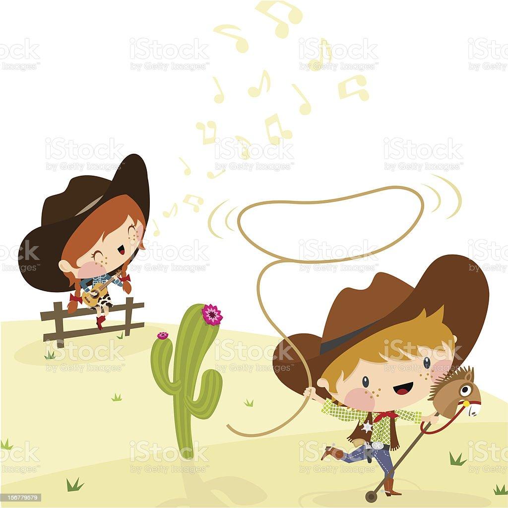 Cowboys, Illustration, Vector. vector art illustration