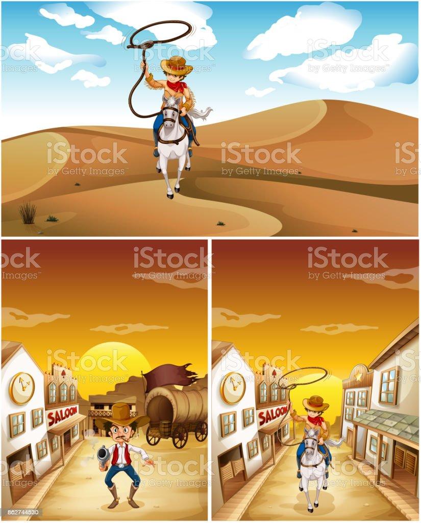 Cowboys in three different scenes vector art illustration