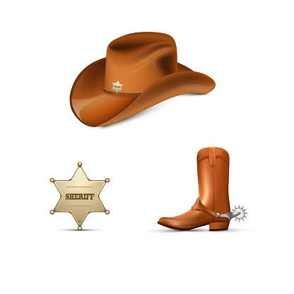 Cowboy's leather hat and boots with spurs ,Sheriff's metallic badge
