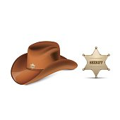 Cowboy's leather hat stetson and Sheriff's metallic badge