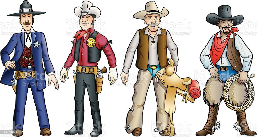 Cowboys of the Old West vector art illustration