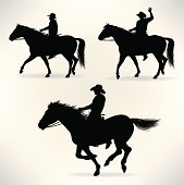 """Graphic silhouette illustrations of cowboys on horses, farming. Check out my """"Vectors Animals & Insects"""" light box for more."""
