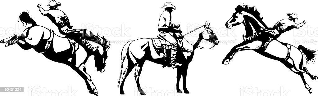 Cowboys Riding Bucking Broncos royalty-free stock vector art