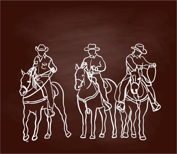 Cowboys Side By Side Chalkboard vector art illustration