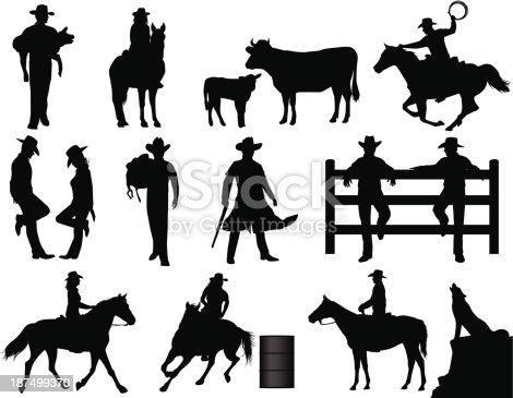 Cowboy and cowgirl silhouettes. Files included – jpg, ai (version 8 and CS3), svg, and eps (version 8)