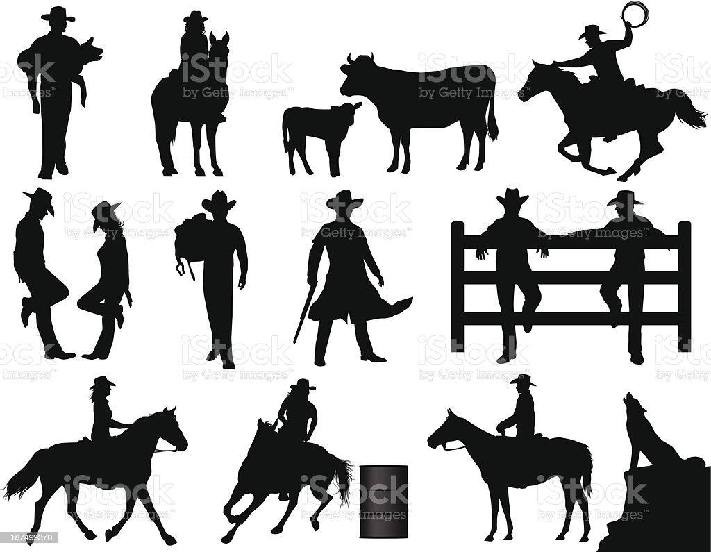 Cowboys vector art illustration