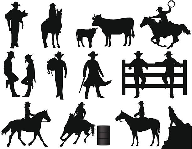 Cowboys Cowboy and cowgirl silhouettes. Files included – jpg, ai (version 8 and CS3), svg, and eps (version 8) silhouette of a howling coyote stock illustrations